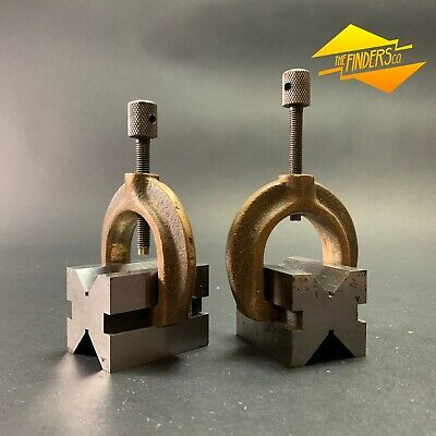 Set X2 Vintage Precision V-Blocks With Clamps Engineers Toolmaker Drill Lathe