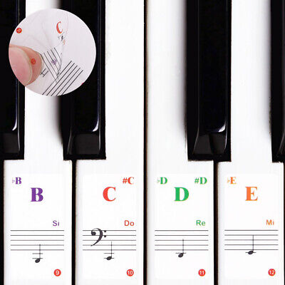 Music Keyboard Piano Stickers 88/61/54/49/37/32 Key Removable Laminted Sticker