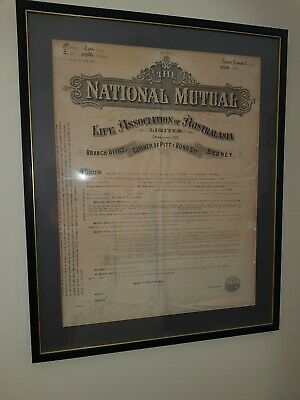Framed original life insurance policy issued by National Mut Life Assoc 1916