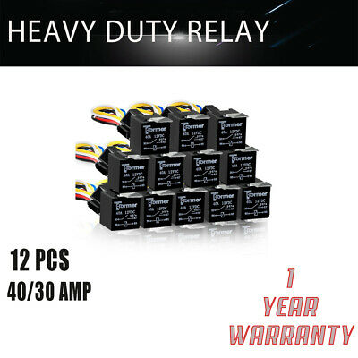 12x 12V 30/40 Amp 5-Pin SPDT Automotive Waterproof Relays Wires and Harness HQ
