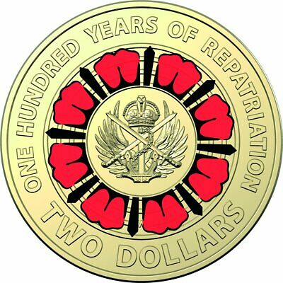 2019~100 Years Repatriation Anzac $2 Dollar Coin~Unc~You Are Buying 1 Coin