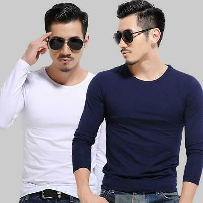 Men's Crew Neck Long Sleeve T-Shirt Slim Casual Solid Color Basic Tee Shirts