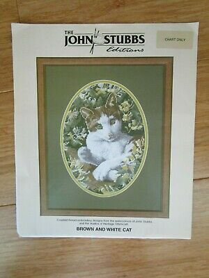 Brown & White Cat Embroidery Pattern From Watercolour By John Stubbs.