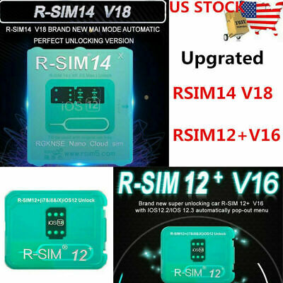 RSIM 12+ V16 R-SIM 14 Nano Unlock Card for iPhone XR XS X/8/7/6 4G iOS 12.4 Lot