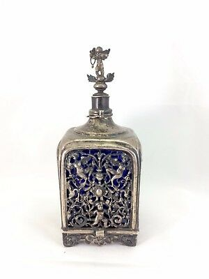 Antique 18th C Hallmarked French Silver and Cobalt Blue Glass Perfume Bottle