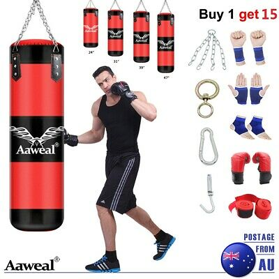 Heavy Duty Punching Training Bag MMA Boxing Martial Arts Kicking Sandbag Chain