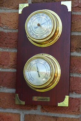Hanseatic Maritime Wetterstation Barometer-Thermometer-Messing-Mahagonie-Holz
