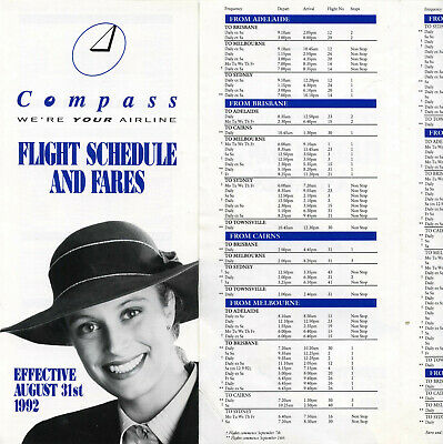Second Compass Airlines  (Md80) Timetable August 31, 1992