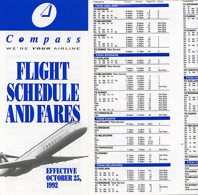 Second Compass Airlines  (Md80) Timetable October 25, 1992