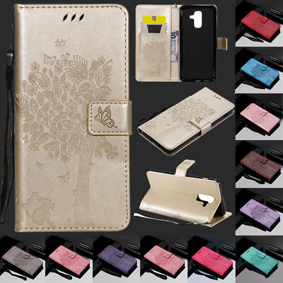 For Samsung Galaxy A6 Plus 2018 A8 Magnetic Flip Card Wallet Leather Case Cover