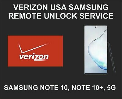 Verizon USA Samsung Remote Network Unlock Service, Samsung Note 10, Note 10 Plus
