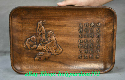 """14"""" Rare Old Chinese Dynasty Huanghuali Wood Hand Carved Man People Plate Tray"""