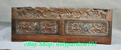 """14"""" Old China Huanghuali Wood Hand-Carved Dynasty Palace Smoke Drawer Pipe Box"""