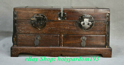 """12"""" Old Chinese Huanghuali Wood Carved Dynasty Palace 2 Drawer Small Cabinet"""