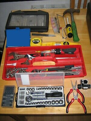 Large Job Lot Of Tools Socket Set Spanners Drivers Old Tool Chest Drill £1&Nores