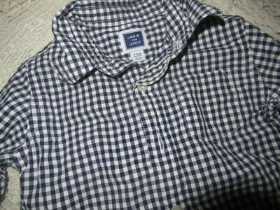 euc Janie and Jack navy check long sleeve button shirt baby boy 3 m 6 m