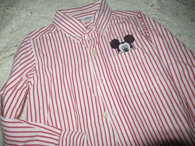 euc Baby Gap Disney Mickey Mouse red stripe long sleeve button shirt boys 5T