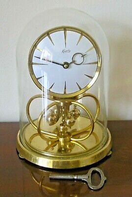 Vintage Brass KUNDO Anniversary Mantel Clock in Glass Dome - Made In Germany