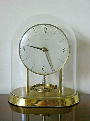 Vintage Gilt Brass Hettich Kick Rewind Anniversary Battery Clock - Acrylic Dome