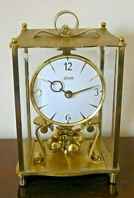Vintage Gilt Brass Kundo Four Etched Glass Sided  Anniversary Clock