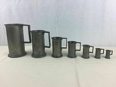 Vintage 7 Pewter Measuring Cup/Mugs - set with Handles - Heavy - Liter/Mertic