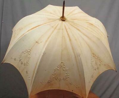 104.0cm 1900s Antique french linen umbrella Wood handle very rare from japan 4Q