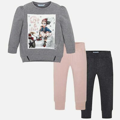 Mayoral Girls Ballerina T-Shirt & Twin Leggings Set (04711) Grey (Aged 2-8 Yrs)