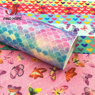 Fish Scale Rainbow Glitter Fabric Sparkle Shiny Leather Craft Material Bows DIY