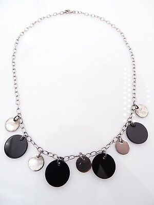 Sterling Silver & Black Glass Circle Disk Dangle Necklace - 925  VINTAGE FASHION