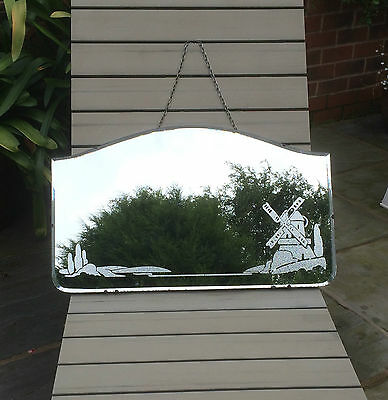 Original Vintage Art Deco Bevelled Mirror With Windmill Landscape Design