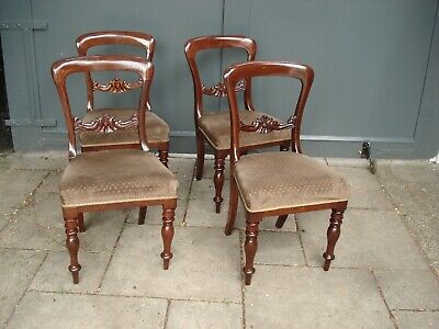 A Beautiful Set Of Four Mahogany Victorian Balloon Back Chairs