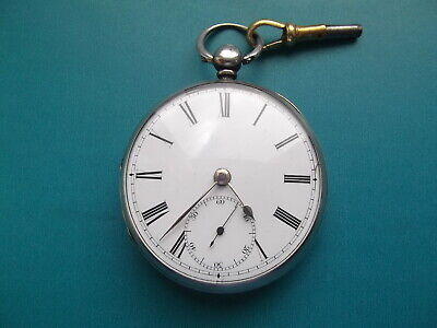 Solid Silver English Fusee Pocket Watch circa 1856