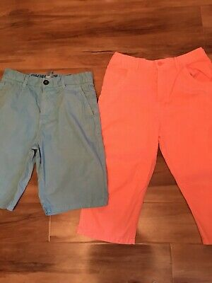 2 Boys Summer Shorts 1 M&S Bright Coral 1 Distressed Blue (next)Age 14y Beach 🏖