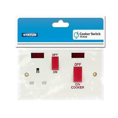 Status 45 Amp 1 Gang Cooker Switch +2 Neon Indicator Best Quality Product UK