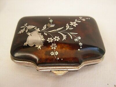 ANTIQUE FRENCH FAUX TORTOISE SHELL,SILVER INLAID,COIN PURSE,LATE 19th CENTURY.
