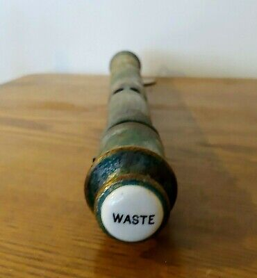 Antique Porcelain Waste Knob Bath Tub Sink Drain Tube Waste Pull Stack