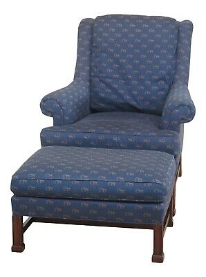 F47855EC: HICKORY CHAIR CO Chippendale Mahogany Wing Chair & Ottoman