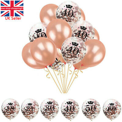 Rose Gold Happy Birthday Bunting Banner Balloons 18 21st 30 40 50 60 Party Decor