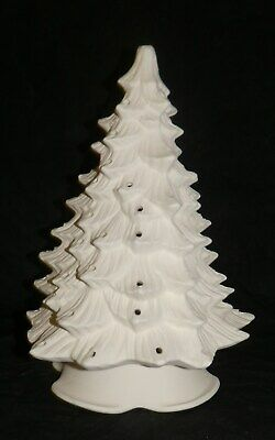 """Doc Holiday 12"""" Christmas Tree with Lights *Ceramic Bisque Ready to Paint"""