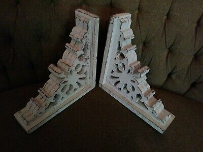 Pair Farmhouse Wood Corbels shelf brackets Mantel country Home Decor primitive 1