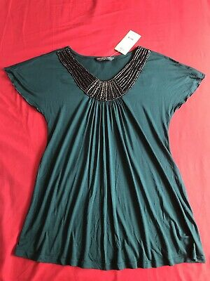 BNWT beautiful Ladies Maternity Top Blooming Marvellous Mothercare Teal Size 12