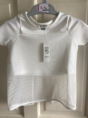 BNWT River Island Fish Net - Crop Top. White. Girls. Age 3 - 6 Years