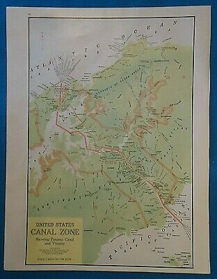 Vintage Circa 1941 UNITED STATES CANAL ZONE MAP Old Antique Original Atlas Map