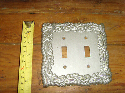 2003 LHMC outlet light switch plate cover double silvertone scrolls follage chic