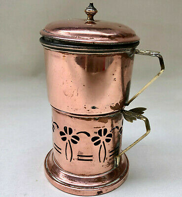 Vintage French Copper Arts And Crafts Small Cafetiere With Brass Bee Design