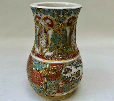 Antique Japanese Small Hand Painted Kabin Gold Coloured Satsuma Ceramic Vase
