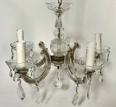 Vintage French 5 Arm Marie Therese Glass & Drop Crystal Ceiling Light Chandelier