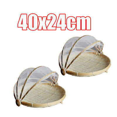 2x Bamboo Food Holder Basket with Cover Prevent from Dust Storage Basket L