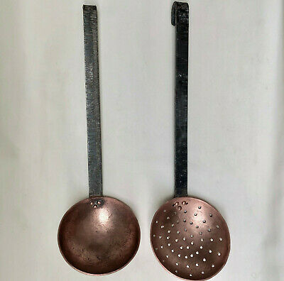 Vintage French Large Size Pair Of Hanging Copper & Wrought Iron Ladle & Strainer