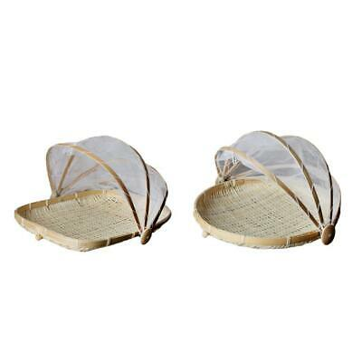 2x Bamboo Food Holder Basket with Cover Prevent from Dust Storage Basket